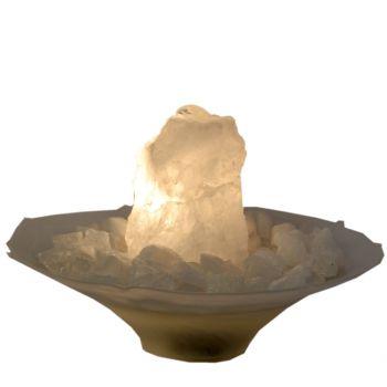 Zimmerbrunnen Bergkristall mit Beleuchtung | Edelstein-Brunnen für Ihr Zuhause | Idealer Raumluftbefeuchter | Bergkristall Rohstein Quellstein Brunnenstein | Schöne Lichtquelle