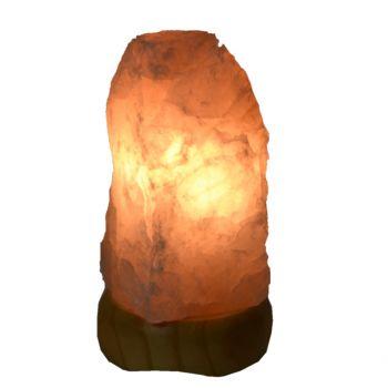Rosenquarz Edelstein-Lampe | Edelsteinlampe aus hellem echtem Rosenquarz | Rosa Kristall Rohstein Leuchte ca. 1,5 - 2 kg auf hellem Holzsockel | Schönes warmes Edelstein-Licht