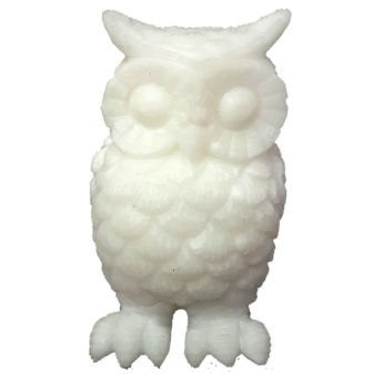 Eule - Edelsteintier Figur aus weißem Calcit