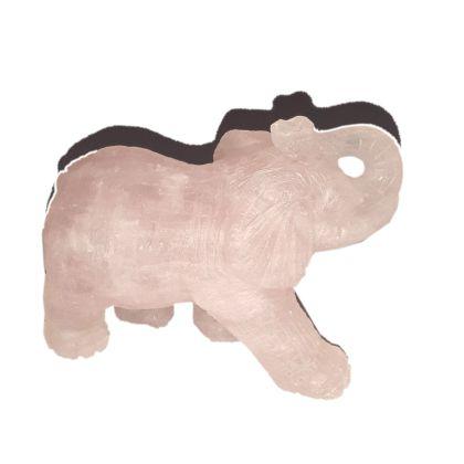 Rosenquarz Edelstein Elefant ca. 7,5 cm | Tiergravur | Edelstein-Gravur Elefant aus Rosenquarz | Glücksbringer und Heilstein | sehr beliebtes Sammelobjekt bei Groß und Klein