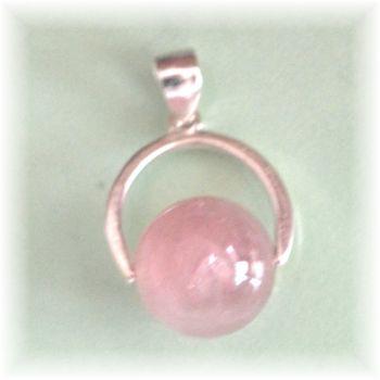 Rosa Quarz Kugel Anhänger |  Rosenquarz Halsschmuck mit Silber Halter | hübscher kleiner echter Schmuckanhänger für Kette oder Lederband