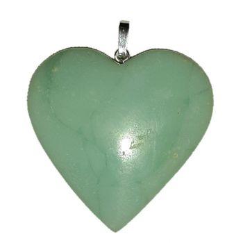 Chrysopras Herz Anhänger | Edelstein-Schmuck mit 925 Silber Öse | Halsschmuck für Kette oder Lederband