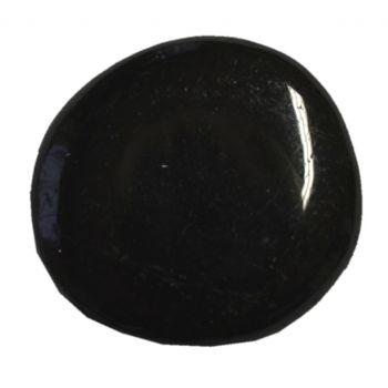 Turmalin schwarz flacher Handschmeichler | Schörl polierter Scheibenstein | Schutzstein zum Auflegen | Dekostein N19-22