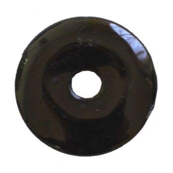 Schörl Donut Anhänger, Turmalin schwarz Edelstein Pi-Scheibe | 40 mm Durchmesser | Halsschmuck für Damen und Herren