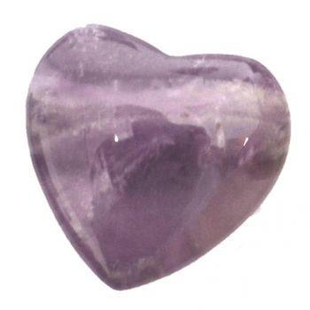 Amethyst Herz Anhänger klein kaufen | 20 mm Lila Kristall Herz gebohrt Kettenanhänger | Echter Edelstein Schmuck Herz Anhänger für Kette oder Lederband
