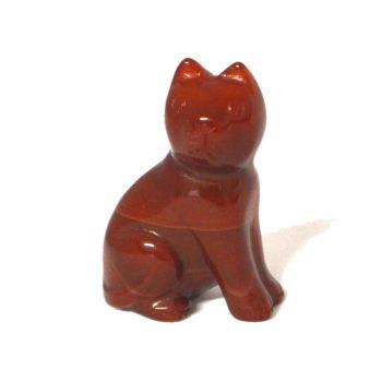 Katze aus Karneol | Tierfigur ca. 5 cm | Handarbeit hübsch zum verschenken | Edelstein-Tier aus schön gemasertem Carneol