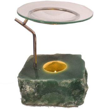 Dutflampe Aventurin| Edelstein Teelichthalter mit Duftschale 3 teilig| Aroma Diffuser oder Stimmungslicht