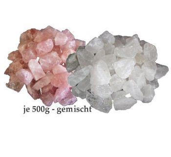 Rohstein Mischung aus Bergkristall 500 g und Rosenquarz 500 g. Edelsteinmischung zur Herstellung von Edelsteinwasser und zur Dekoration von Schalen, Lampen Zimmerbrunnen. Naturbelassene Steine aus Rosenquarz. Bekannt als Heilsteine