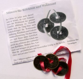 Chinesische Glücksmünzen 3 Stück am roten Band