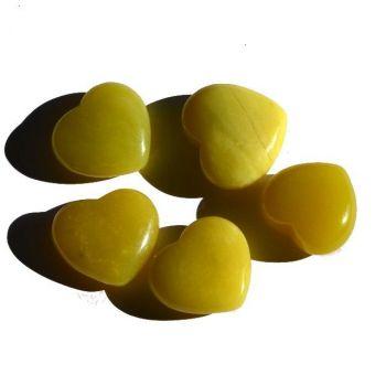 Lemon-Jade Edelstein Herz   Größe ca. 20 mm   handlich-bauchige Form   Glücksbringer