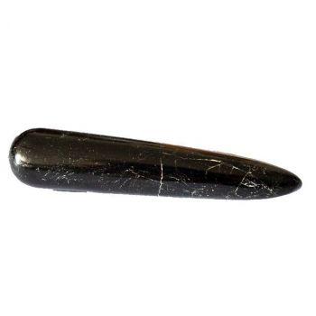 schwarzer Turmalin Edelstein Massage-Griffel ca.8 cm | Schörl Massagestab groß | Edelstein-Massagen mit einem wunderschönen Heilstein-Griffel aus schwarzem Turmalin