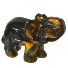 Falkenauge Edelstein-Tier Elefant ca. 5 cm | Tiergravur | Edelstein-Gravur Elefant aus Falkenauge | Glücksbringer und Heilstein | sehr beliebtes Sammelobjekt bei Groß und Klein