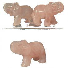 Rosenquarz Edelstein Elefant 5 cm | Tiergravur | Edelstein-Gravur Elefant aus Rosenquarz | Glücksbringer und Heilstein | sehr beliebtes Sammelobjekt bei Groß und Klein