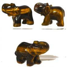 Edelstein-Tier Tigerauge Elefant | Tiergravur ca. 5 cm | Edelstein-Gravur Elefant aus Tigerauge | Glücksbringer und Heilstein | sehr beliebtes Sammelobjekt bei Groß und Klein