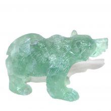 Fluorit Bär | Edelstein-Tier und Gravur aus grünem Fluorit | Detailgetreue Handarbeit |