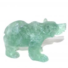 Bär Edelsteintier aus grünem Fluorit, ca. 8 cm