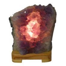 Amethyst Stein-Lampe klein 1,73 Kg | Naturstein Edelsteinlampe | Amethyst-Kristall Leuchte hell komplett mit Elektrik kaufen | Heilstein-Lampe lila und Deko-Lampe Amethyst