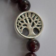 Granat Kugel Armband, mit Baum des Lebens Ornament
