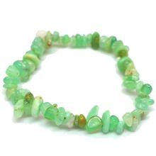 Chrysopras Edelstein Armband kaufen | Echtes grünes Stein-Armband | Armschmuck Heilstein Stretch-Armband | Natürliches Trommelstein Splitterarmband auf elastischen Gummi-Band