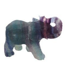 Edelsteintier Elefant Fluorit dunkel-grün