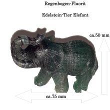 Fluorit Edelstein Elefant ca. 5 cm Tiergravur | Edelstein-Gravur Elefant aus dunkel grünen Fluorit | Glücksbringer und Heilstein | sehr beliebtes Sammelobjekt bei Groß und Klein