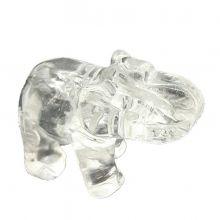 Edelsteintier Elefant, Figur aus Bergkristall | Größe ca. 5cm | Handarbeit | Glücksbringer, Sammelobjekt