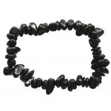 Turmalin schwarz Splitter Armband,  Ihr Schutzstein für den Alltag im Beruf und für zu Hause, Armband aus echten Edelsteinen auf elastischen Nylonfaden aufgezogen