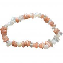 Echtes Mondstein bunt Edelstein Armband kaufen | Splitterarmband mit elastischen Band | Multicolor Mondstein Heilstein Stretch Armband für Damen und Herren