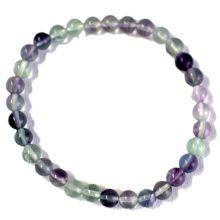 Fluorit Edelstein Kugel Armband, Regenbogen-Fluorit Perlen Armschmuck, für Damen, Herren, Jugendliche, auf Elastikband