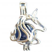 Einhorn Perlenkäfig Anhänger Lapislazuli