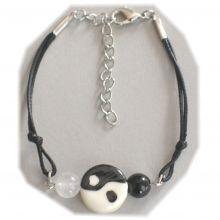 Armband Yin Yang | Armschmuck mit Karabiner | Länge regulierbar mit Verlängerungskettchen | Modeschmuck für das Handgelenk
