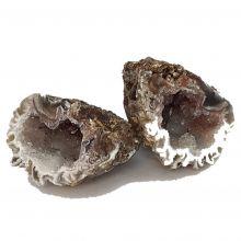 Achat Geoden Drusen Paar aus Brasilien | Edelstein Achatdrusen Paar mit Quarz-Kristallen | Natürlicher Achat-Stein Nr. 91