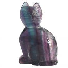 Fluorit Edelstein Katze ca. 6,5 cm Tiergravur | Edelstein-Tiergravur Katze aus Regenbogenfluorit | Glücksbringer und Heilstein | sehr beliebtes Sammelobjekt bei Groß und Klein