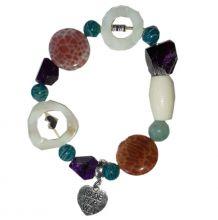 Multicolor Edelstein Armband Avina verschiedene Edelsteine wunder bar vereint in einem Armschmuck,  Amazonit, Sugilith, Perlmutt, Feuerachat auf Strechband