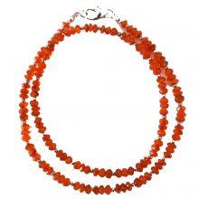 Damen Edelsteinkette Halskette aus Karneol in facettierter Form | dekorative Halskette mit Karabiner Verschluss | Länge ca. 46 cm