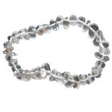 Bergkristall Trommelstein Splitter Armband auf elastischen Zugband aufgezogen | Edelsteine aus Bergkristall Ihr Heilstein- und Schutz-Armband | Für Damen, Herren und Jugendliche bestens geeignet
