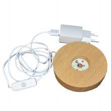 LED Leucht Sockel, warmes Licht  Holz Sockel mit 6 LED`s   zum beleuchten ihrer Dekoartikel, Edelstein Objekte   USB Stecker und mit Netzteil für die Steckdose
