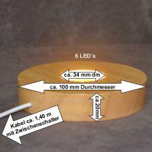 LED Leucht Sockel, warmes Licht| Holz Sockel mit 6 LED`s | zum beleuchten ihrer Dekoartikel, Edelstein Objekte | USB Stecker und mit Netzteil für die Steckdose