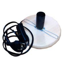 Holzsockel mit Klemme 15 cm - für Leuchtschalen, Fassung E14, schwarzes Kabel