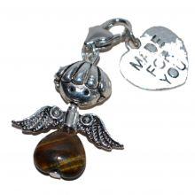 Tigerauge Herz Charms Anhänger | hangefertigt, individueller Geschenk-Tipp | Bettelarmband Anhänger mit Karabiner | veredle dein Armband