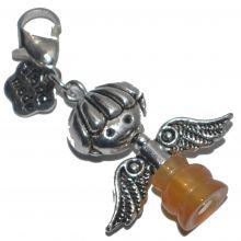Charm-Anhänger Carneol-Engel | Bettelarmband-Ketten Anhänger mit Karabiner |