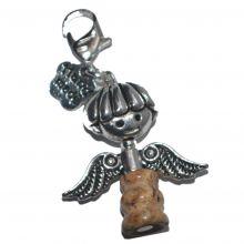 Jaspis Charms Anhänger | Bettelarmbandanhänger | Engel mit Karabiner Verschluss zum praktischen einhängen | Schmuck für alle Armbänder Halsketten Geschenke