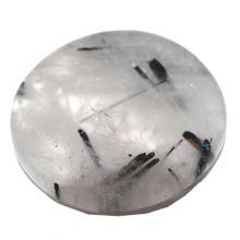 Turmalinquarz flacher Handschmeichler | Quarz mit Turmalin polierter Scheibenstein | Schutzstein zum Auflegen | Dekostein N 19-23
