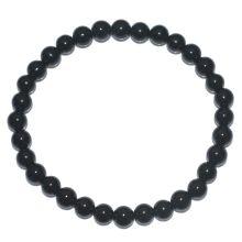 Schwarzer Turmalin/Schörl Edelstein Armband für Damen und Herren | Feine schwarze polierte Turmalin-Perlen auf einem elastischen Gummizug Armband | Ihr tägliches Heilstein und Schutzarmband für den Alltag