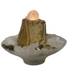 Versteinertes Holz - Kugelbrunnen | Edelstein Zimmerbrunnen mit einer Bergkristall Kugel | indirekte Beleuchtung mit dekorativem Wasserspiel zur Raumluft Verbesserung