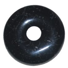Turmalin schwarz Donut Anhänger, Schörl Edelstein Pi-Scheibe | 35 mm Durchmesser | Halsschmuck für Damen und Herren