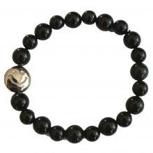 Regenbogen-Obsidian Kugel Armband - Smiley | Armschmuck mit Strechband für Damen und Herren | Hangefertigtes Einzelstück