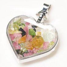 Kristall-Glas Herz Anhänger mit bunten Turmalin Edelsteinen gefüllt | Schmuckanhänger Liebe | Halsschmuck ca. 45 mm | Herzanhänger für Kette | Kettenanhänger