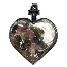 Kristall-Glas Herz Anhänger mit bunten Turmalin Edelsteinen gefüllt   Schmuckanhänger Liebe   Halsschmuck ca. 45 mm   Herzanhänger für Kette   Kettenanhänger