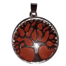 Jaspis Anhänger, Lebensbaum, Schmuck Hänger mit Symbolkraft, Baum des Lebens mit roter Jaspis Scheibe, Schlaufen Öse